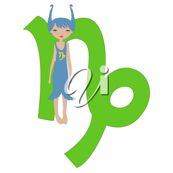 Royalty Free Clipart Image of a Capricorn Zodiac Sign
