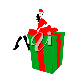 Royalty Free Clipart Image of a Woman on a Present