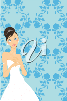 Royalty Free Clipart Image of a Pretty Bride