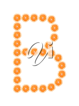 Letter B from orange slices isolated on white background
