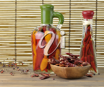 Royalty Free Photo of an Assortment of Hot Peppers