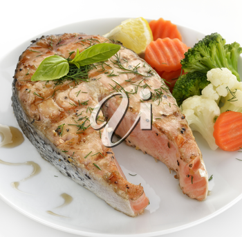 Slice Of Salmon And Vegetables ,Close Up