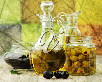 vintage style picture of olive oil