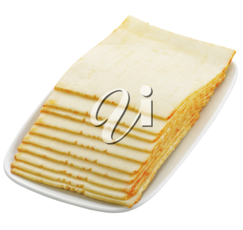 Cheese Slices Isolated On White Background