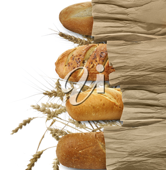 Loaves Of Bread On White Background