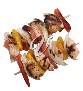 Salmon Kebabs With Pepper ,Onion And Tomatoes Isolated On White Background