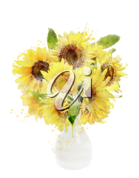 Watercolor Digital Painting Of Sunflowers Bouquet In Vase