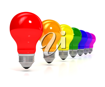 Royalty Free Clipart Image of Colourful Light Bulbs