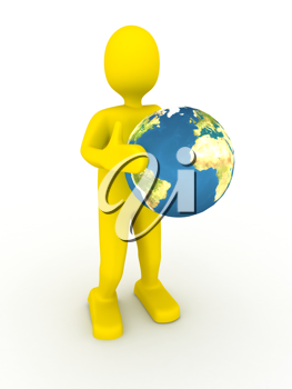 Royalty Free Clipart Image of a Businessman Holding a Globe