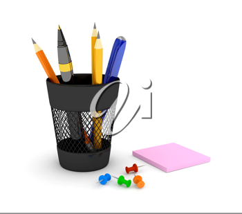 Royalty Free Clipart Image of a Pencil Holder