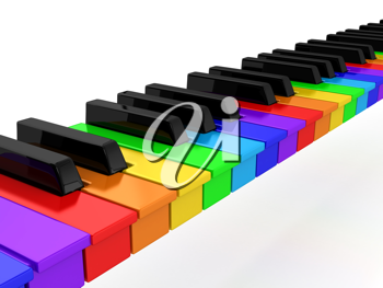 Royalty Free Clipart Image of a Rainbow Piano