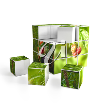 3d cube with photo over white background. computer generated image