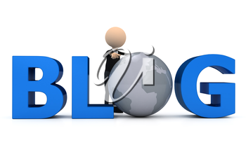 3d person creating blog. computer generated image