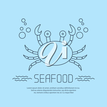 Seafood icon with crab and bubbles. Vector