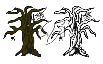 Hand drawn doodle Halloween tree. Black pen objects and color drawing. Design illustration for poster, flyer over white background.