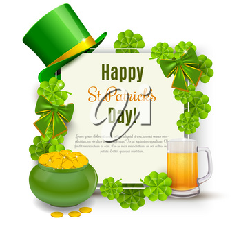Saint Patricks Day Card with Treasure of Leprechaun, Green Hat on orange Background. Vector Illustration.