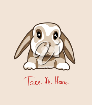 Royalty Free Clipart Image of a Baby Rabbit With the Words Take Me Home Underneath