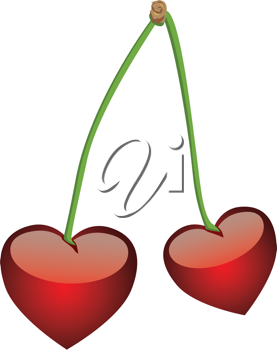 Royalty Free Clipart Image of Hearts on Stems