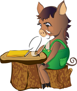 Royalty Free Clipart Image of a Wild Boar at a Stump