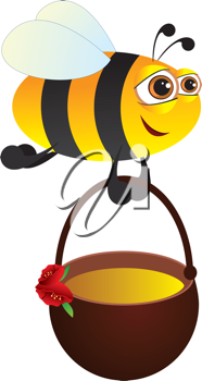 Royalty Free Clipart Image of a Bee With Honey