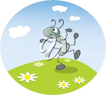 Royalty Free Clipart Image of an Ant Dancing on the Lawn