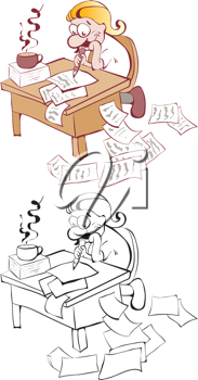 Royalty Free Clipart Image of Two Examples of a Writer at a Desk
