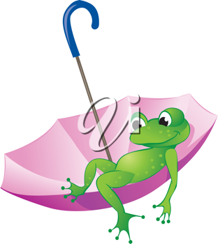 Royalty Free Clipart Image of a Frog in an Upside Umbrella