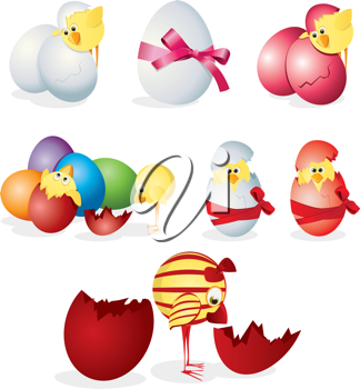 Royalty Free Clipart Image of Chicks in Eggs
