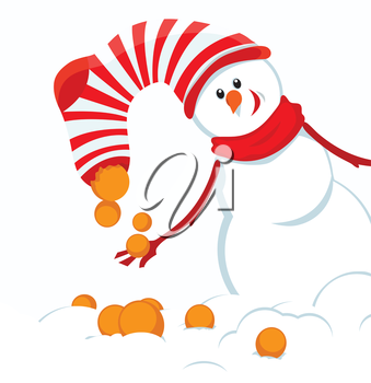 Christmas card with snowmans