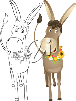 Fun donkey with wreath of flowers. Outline and color