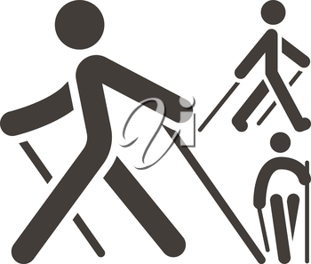 Health and Fitness - Nordic Walking icons set