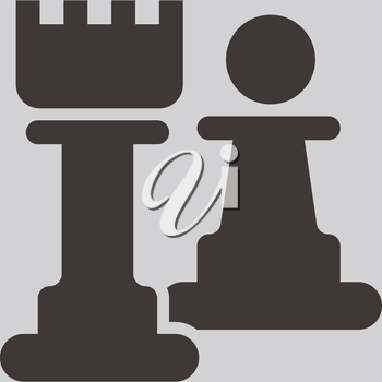 Chess icon - chess pawn and rook