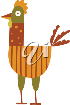 Funny hen - color illustration icon