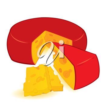 Royalty Free Clipart Image of a Wheel of Cheese