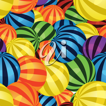 Royalty Free Clipart Image of a Bunch of Colourful Balls