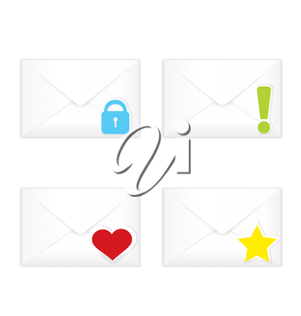 Vector illustration of white realistic closed sorted with marks envelopes icon set ..