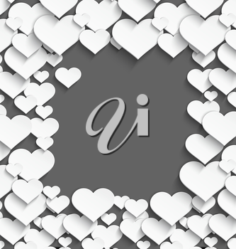Vector illustration of 3d white plastic heart frame with realistic shadow on dark gray background.