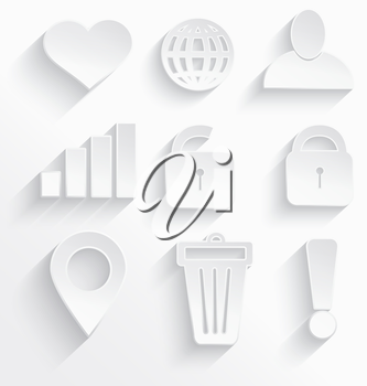 Vector illustration of Internet icons 3d white plastic with realistic shadow.