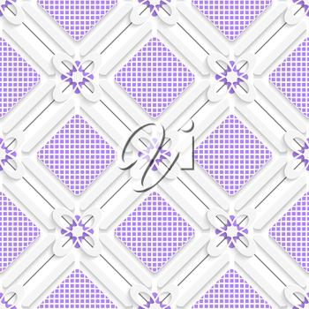 Abstract 3d seamless background. Diagonal purple checked squares pattern with cut out of paper 3d effect.