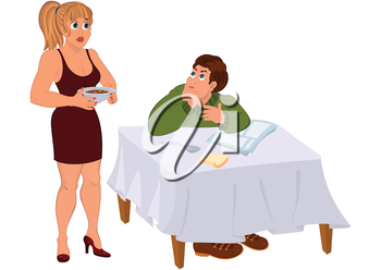 Illustration of cartoon couple  isolated on white. Cartoon wife serving dinner for husband.