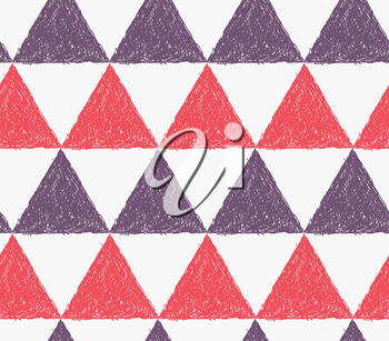 Pencil hatched red and purple triangles.Hand drawn with brush seamless background.Modern hipster style design.