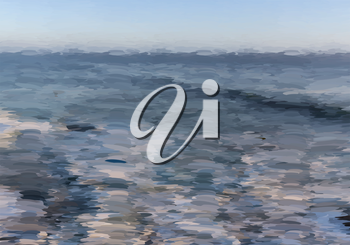 Abstract oil painted ocean.Mosaic background. Abstract nature backdrop. Oil painting simulation with mosaic elements.