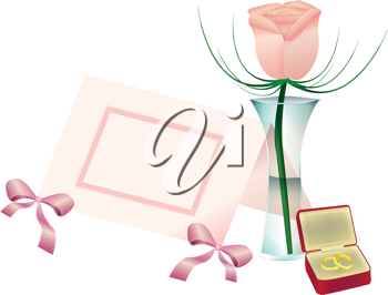 Royalty Free Clipart Image of a Flower in a Vase, a Name Card and a Jewellery Box