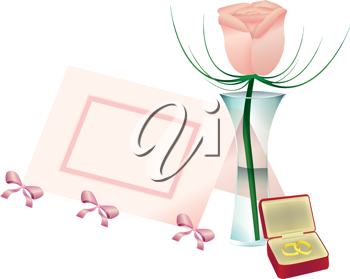 Royalty Free Clipart Image of a Flower in a Vase, a Place Card and Rings in a Jewellery Box