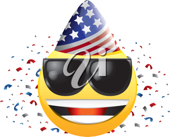 Royalty Free Clipart Image of a Celebrating Happy Face in Sunglasses