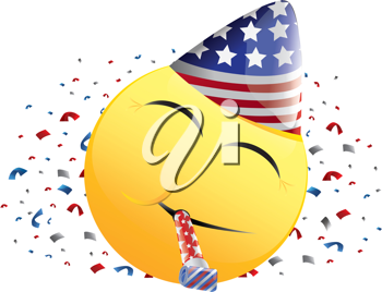 Royalty Free Clipart Image of a Celebrating American Happy Face With Streamers