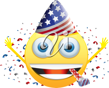 Royalty Free Clipart Image of a Celebrating American Happy Face With Confetti