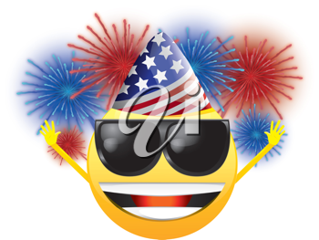 Royalty Free Clipart Image of a Celebrating American Happy Face in Sunglasses