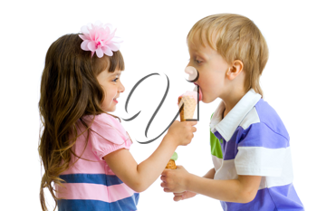 Royalty Free Photo of a Girl Sharing Her Ice Cream With a Boy