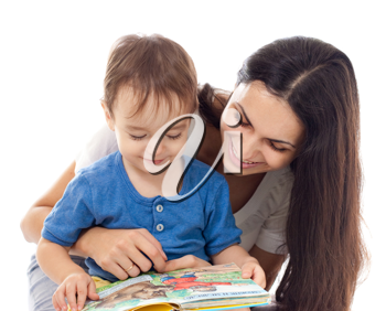Royalty Free Photo of a Mother Reading With Her Son